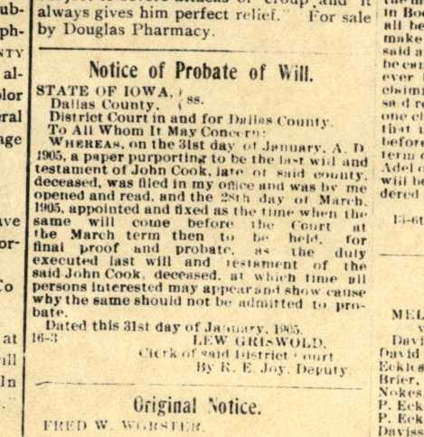Notice of Probate of Will - John Cook Sr.