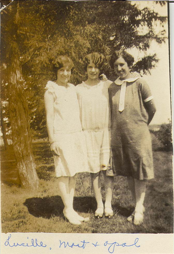 Sisters circa 1925 - Lucille Helen Cook, Martell Marie Cook, Opal Madeline Cook